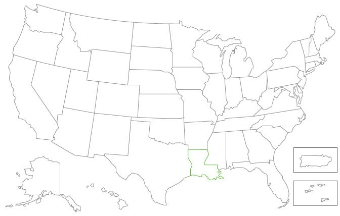 United States map with Louisiana border colored green