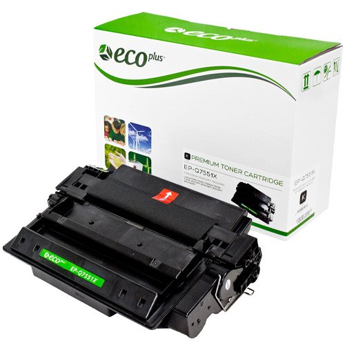 toner cartridge posed in front of green and white box